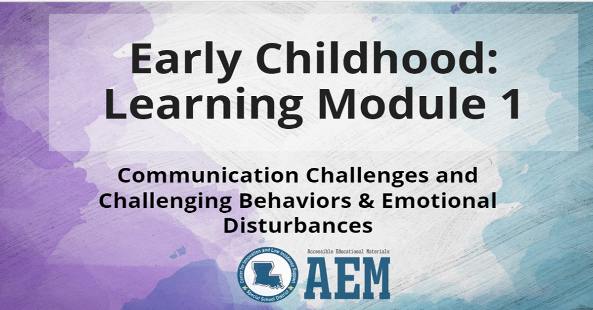 Early Childhood Communication & Behavior Supports