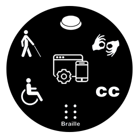 Assistive technology icons in a circle